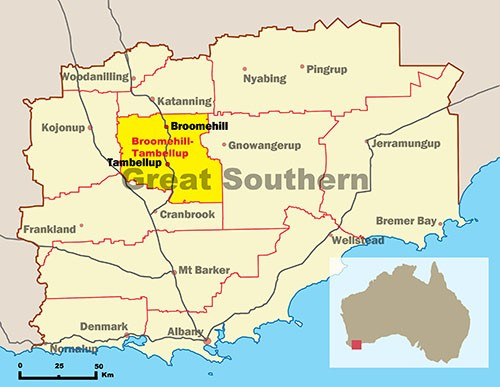 Map of Great Southern highlighting Broomehill-Tambellup