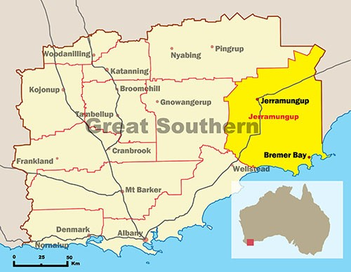 Map of Great Southern highlighting Shire of Jerramungup