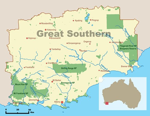 Map of Great Southern geography