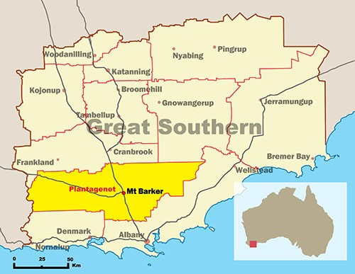 Map of Great Southern highlighting Shire of Plantagenet