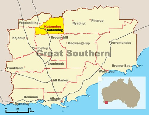 Map of Great Southern highlighting Shire of Katanning