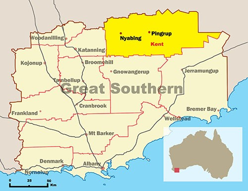 Map of Great Southern highlighting Shire of Kent
