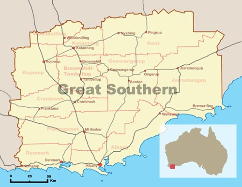 Map of the Great Southern