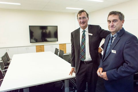 Mr Thornton (right) is pictured with Cranbrook Shire President Twynam Cunningham in the emergency operations centre at the community hub.